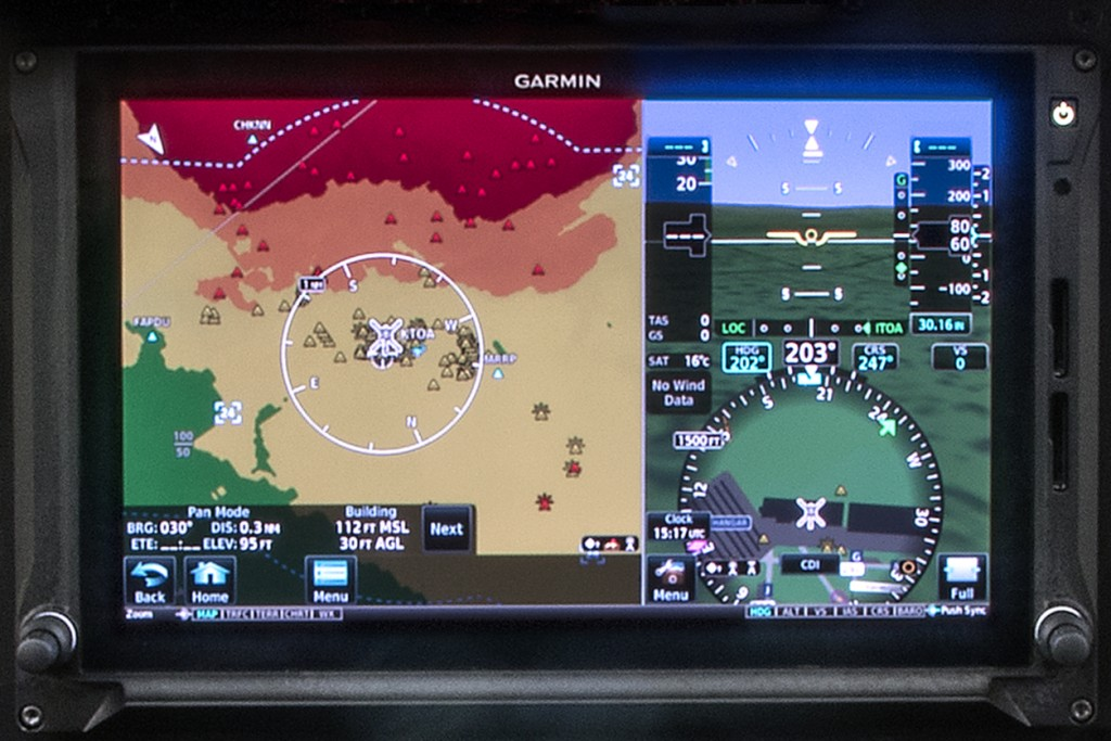 garmin g500 installed on a gdu 1060 touchscreen device