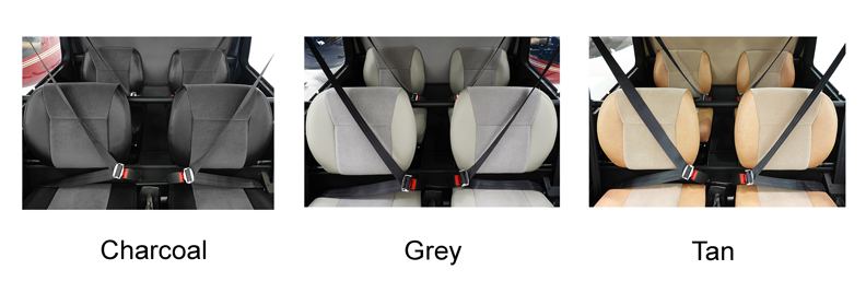 r44 standard velour seats in charcoal grey and tan options