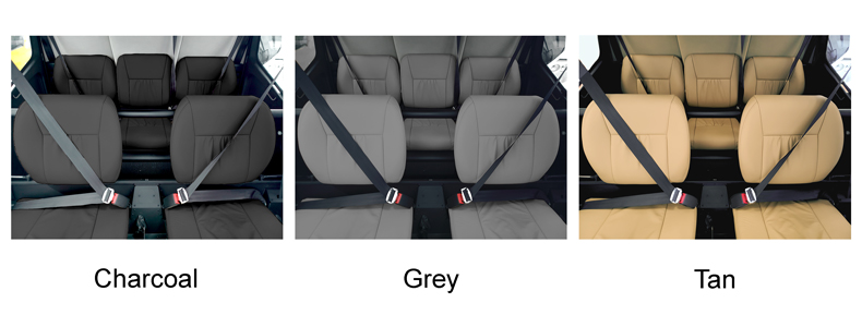 r66 standard leather seat options in charcoal grey and tan