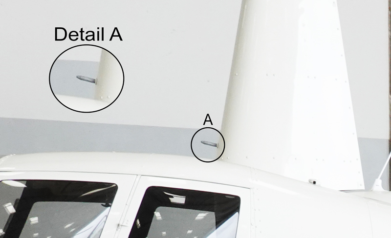 heated pitot tube on mast of r44 aircraft