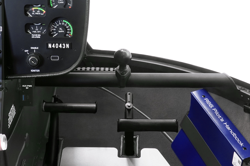 pilot side accessory bar with 1 inch ball mount dual charge port