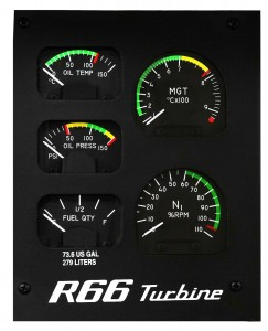 R66 Standard Gage Panel (mean gas temperature, oil temperature and pressure, N1 tachometer, fuel quantity)